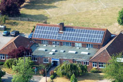 Nayland Primary School with Solar Panels viewed from the air